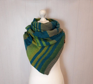Green wool scarf , Hand knit stripe scarf , Gift for girlfriend and mom