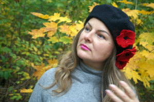 Handmade beret, Felted hats, Spring hat, Beret with flowers