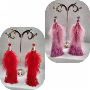 Long feather earrings, Ostrich feathers, Brush earrings