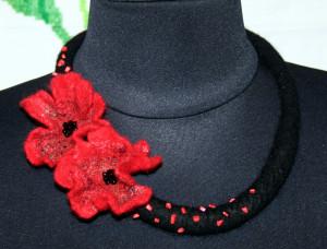 Felt necklace wool choker textile necklace