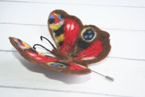 Felted brooches, Felted Butterfly, Needle felted brooch Original jewelry made of felted wool