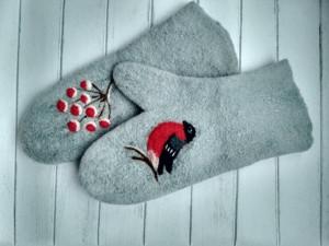 Handmade mittens, Mittens with pattern, Set of mittens, Wool mittens