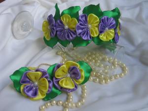 Flower set for a girl Set of hair accessories Spring Floral headband for flowergirls Girls flower headband kanzashi