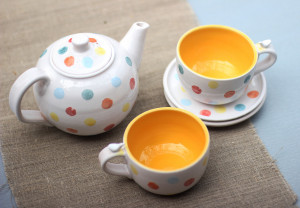 Colorful Tea Set with Teapot Wedding Gift for Couples Cute Pottery Mugs and Plates Blue and Yellow Polka Dot Cup Ceramic Coffee Mug Handmade