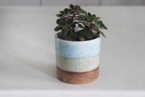 Pottery Indoor Flower Pot, 3.5 in White Blue Cactus Planter, Middle Ceramic Succulent Seedling Planter, Utensils Holder, Office Organizer