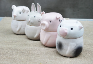 Storage Container Set of 4 with Domestic Animals, Cow Pig Rabbit Sheep Pottery Jars With Lid, Kitchen Decor Pets Lover Gift Mother Day 2020