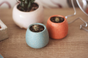 Set of 2 Mini Pottery Planters, Indoor Cactus Planter, Small Ceramic Succulent Pot, Turkish and Salmon Glitter Colors, Housewarming Gift