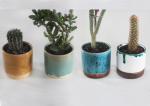 4 pcs Set of Pottery Planters, Middle Ceramic Succulent Pot, Indoor Cactus Planter Unique Colors White Blue White Turkish Mustard Yellow