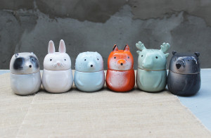 Woodland Animals Storage Set, Fox Bear Hedgehog Rabbit Racoon Elk, Pottery Tea Coffee Sugar Canister With Lid, Moving Gift