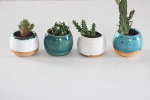 Sphere Pottery Planter, White Turquoise Mustard Yellow Indoor Flower Pot, Middle Ceramic Succulent Planters, Housewarming and Wedding Decor