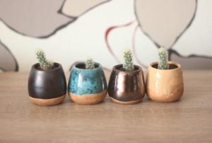 Small Ceramic Succulent Pot, Indoor Cactus Black Gold Turkish, Set of 4 Mini Planters, 4 pcs Pottery Seedling Planters Housewarming Gift