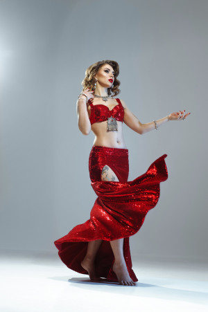 Sparkle red tribal belly dance costume in Jessica Rabbit style - made to order