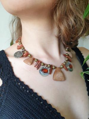 Tribal belly dance necklace, jade necklace, boho necklace