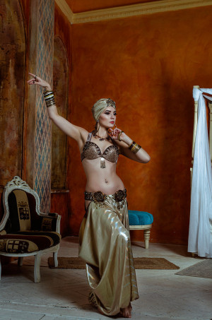 Made to Order: Gold tribal belly dance costume - Ready for shipping
