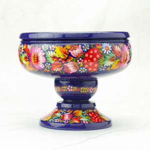 Wooden decorative vase for fruit, sweets, painted by Petrykivka painting | Large fruit bowl in purple tones