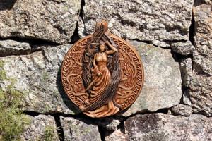 Freya , Asatru home decor, Wood carving wall art