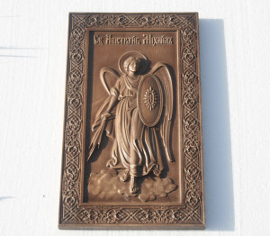 Archangel Michael religious icon Wooden Carving decor Archangel Michael Image Wooden Icon Gift for family Wooden gift Christian icon Holy