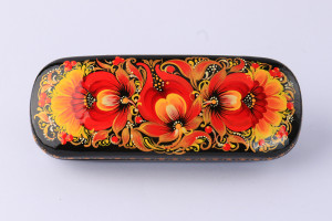 Case for glasses metal, covered with leatherette and painted with flower patterns