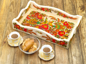 Wooden tray with rims, painted with Petrykivka painting | Rectangular wooden tray