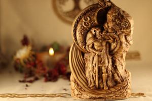Heimdall , God statue Сarved wooden statuette  Handmade wooden statue