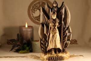 Angrboda goddess statue Witch altar statue, Wooden anniversary, For her and him  Hel