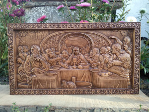 """Last supper carving wood 20"""" Christ The Last Supper religion icons """"JESUS"""" Last supper Wood carved religious Icon"""