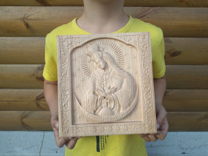 Our Lady of Ostra Brama Virgin Mary, Gift for family, Wall Hanging Art work, Wooden carved icon