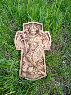 "Saint Michael, carved wooden cross 10"" ,  Cross Archangel Michael Wood"