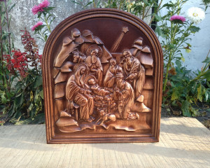 Birth of jesus painting of wood, Icon Nativity of Jesus,Wooden Carved Icon Picture.