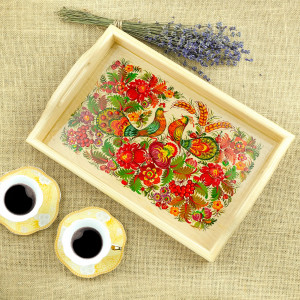 Decorative handmade wooden tray with Ukrainian ornaments|  Wooden painted tray with rims
