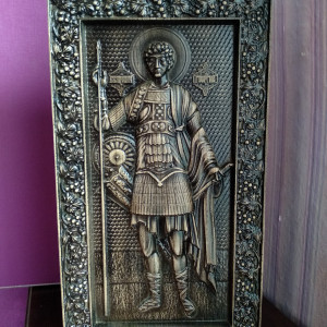 St. George the Victorious in full growth. Wooden carved icon Gift for family Carved gift Christian icon
