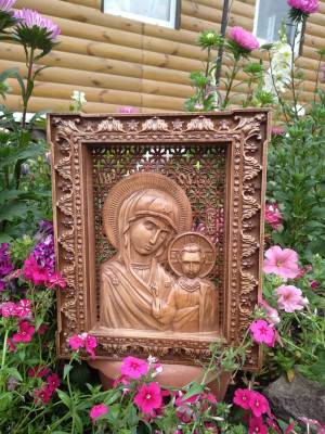 Icon of Our Lady of Kazan Icon Mother of God Orthodox Wood Carving Religious orthodox christian gift