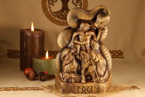 Wooden statue Loki  Wooden god  Scandinavian god Loki