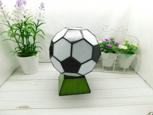 Stained glass ball, Football ball made of glass, stained glass Tiffany, football decor, Football Symbol, football ornament
