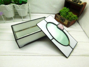Stained glass box, jewelry container, handmade terrarium, geometric glass box, glass jewelry box, Tiffany box, Stained glass mirror