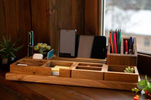 Desk organizer, pen holder, pencil holder, business card holder, phone stand, desk phone stand, tablet stand, desk set, monogram desk set