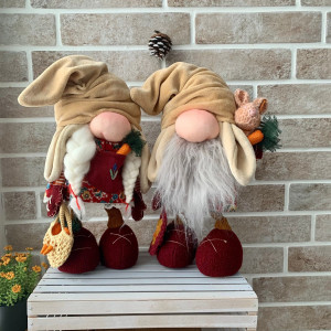 Set of two gnomes Easter decoration Farmhouse decor Gifts for her Holiday decor  Scandinavian gnome Easter gnome Holiday gnome Bunny gnomes
