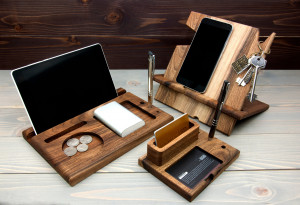 3 Piece Gift Set, Wooden desk set, Credit card holder, Gifts for him, Phone stand, iPad stand, Tablet stand, Wooden gifts, Handmade gift