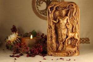 Cernunnus wooden God statuette Сarved wooden god Cernunnus god of warriors, Horned