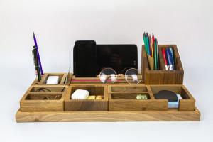 Desk Tidy, Office Desk Accessories set, Wood desk accessories, Desk storage, Desktop Vessels Set, wooden desktop organizer, organizer