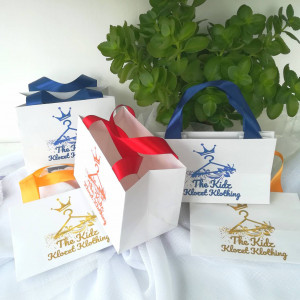 40 pcs Paper Bag with any color satin ribbon handles and print logo, white wedding welcome bags - Personalized Paper Bag, custom paper bag