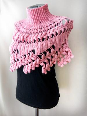 Crochet shoulder cape Infinity cowl scarf Short cape neckwarmer Pink women's cape
