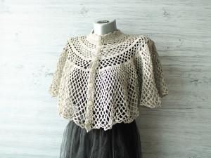 Crochet wedding velvet cape Capelet for bride Victorian shoulder vintage cape