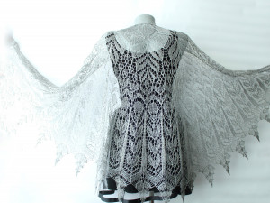 Hand knitted shawl Sparkly shawl Linen shawl wrap Lace shawl Goth outfit
