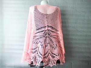 Wool lace shawl for women Blush shawl hand knitted Plus size wedding shawl wrap