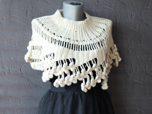 Crochet cape Ivory capelet Lace cover up for wedding Boho bridal cape Short poncho