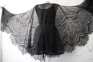 Black lace shawl Knitted shawl for women Plus size shawl merino wool