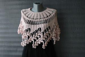 Crochet cape Cowl wedding poncho Bridal cover up Lace capelet Shoulder cape
