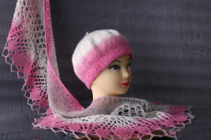 Knit scarf and hat set Wool beret and lace shawl scarf Felted beret hat women Hand knit wool shawl pashmina