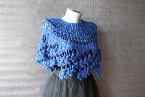 Crochet cape Royal blue capelet Lace cover up for wedding Boho bridal cape Short poncho